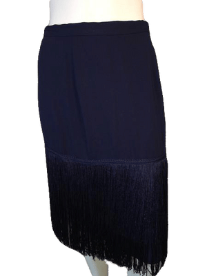Designers on a Dime Navy Blue Skirt with Fringe Hem Size 10 SKU 000126