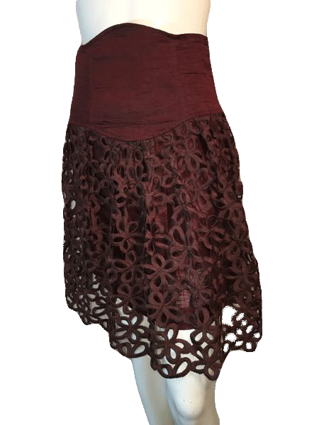 "Robert Rodriquez Brown Embroidered Layered Skirt Size 28"" (SKU 000169)"
