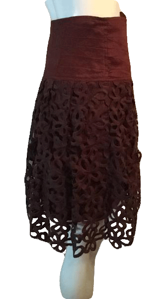 "Robert Rodriquez Brown Embroidered Layered Skirt Size 28"" SKU 000169"