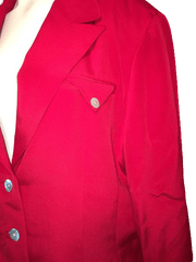 Neiman Marcus 100% Silk Cherry Red Long Sleeve Blazer Size 14 (SKU 000169)