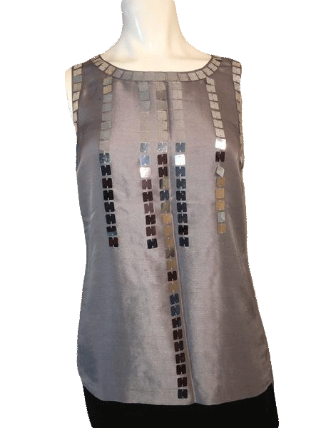 Tory Burch Gray Sleeveless 100% Silk Top with Large Sequin Size 4 SKU 000169