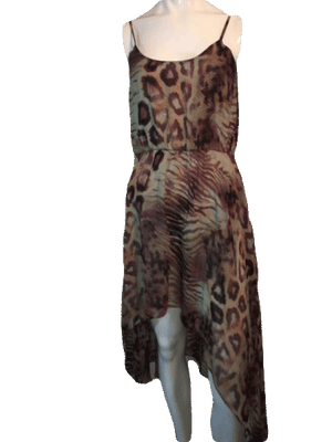 Foreign Exchange Spaghetti Strap Sun Dress in Animal Print Size S SKU 000150