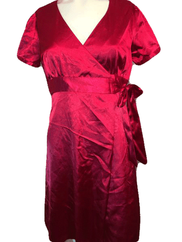 Guess Jeans Shiny Red Wrap Dress Size S (SKU 000169)