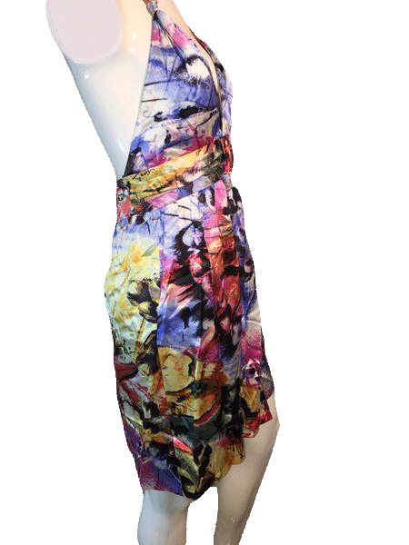 Single Dress for Neiman Marcus Multi-Colored Floral 100% Silk Sun Dress Size S SKU 000169