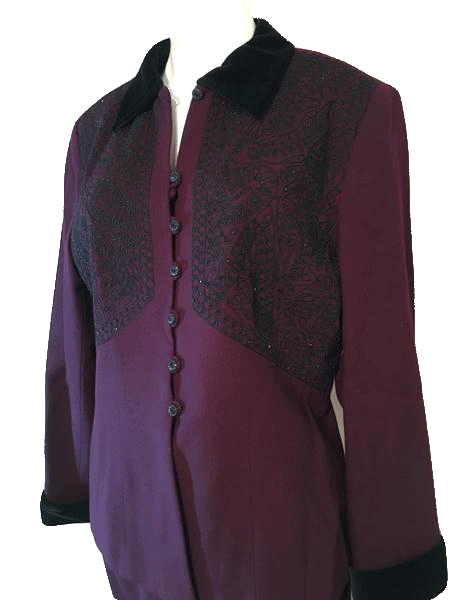 Albert Nipon Evening Burgandy Blazer Size 14 SKU 000150
