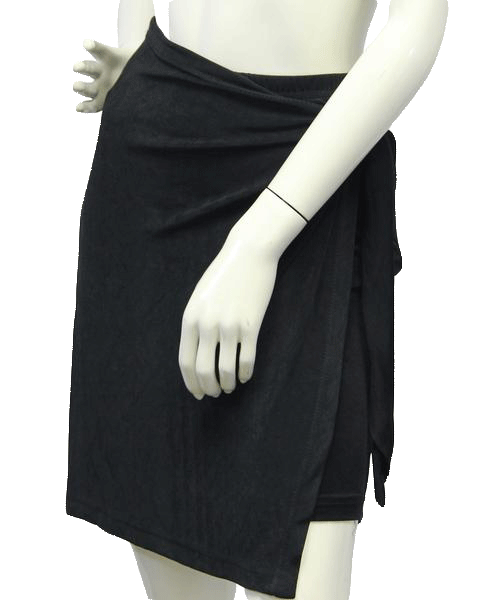 Taylor NY Side Tied Knit Black Skirt Size L  (SKU 000004)