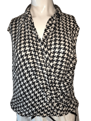 Studio g 100% Silk Houndstooth Style Top with Collar Size XL SKU 000168