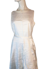 Calvin Klein White Dress with Tie Waist Size 10 (SKU 000168)