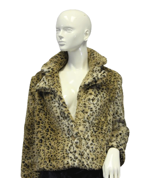Leopard Pattern Faux Fur Coat Size S (SKU 000017)