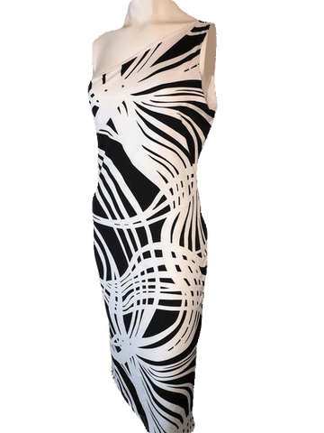 Chesley USA Black and White One Shoulder Dress Size Large (SKU 000168)