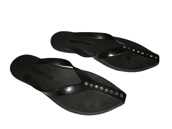 Melissa Black Rubber Sandals with Clear Jewels Size 8 (SKU 000142)