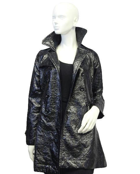Black Patent Leather Vegan Coat  Sz S (SKU 000015)