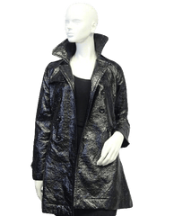 Black Patent Leather Vegan Coat (SKU 000015)