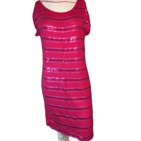BCBG Maxazria Pink T-Shirt and Sequin Dress Size S (SKU 000200)