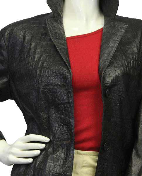 Brown Leather Alligator Print Jacket Sz 44 (SKU 000018)