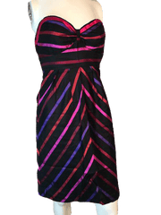 Guess Jeans 100% Silk Chevron and Striped Strapless Sweetheart Neckline Dress Size 1 (SKU 000200)