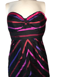 Guess Jeans 100% Silk Chevron and Striped Strapless Sweetheart Neckline Dress Size 1 SKU 000200