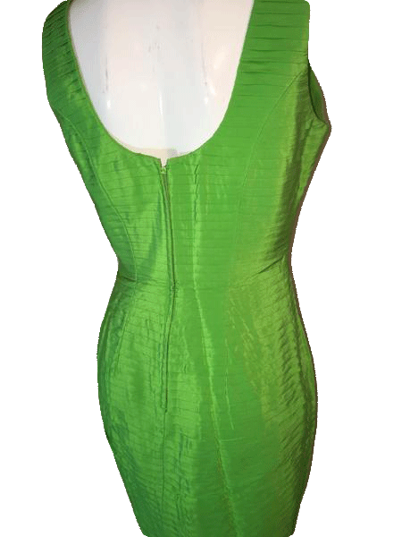 Magali Collection 100% Lime Green Party Dress Size 10 SKU 000200