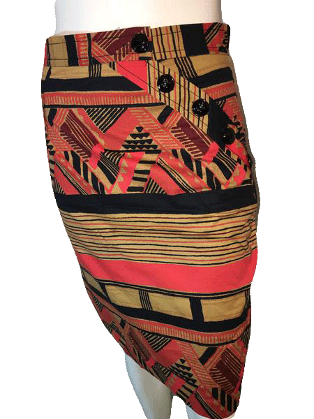 Designers on a Dime Colorful Printed Skirt with Decorative Large Buttons (SKU 000094)