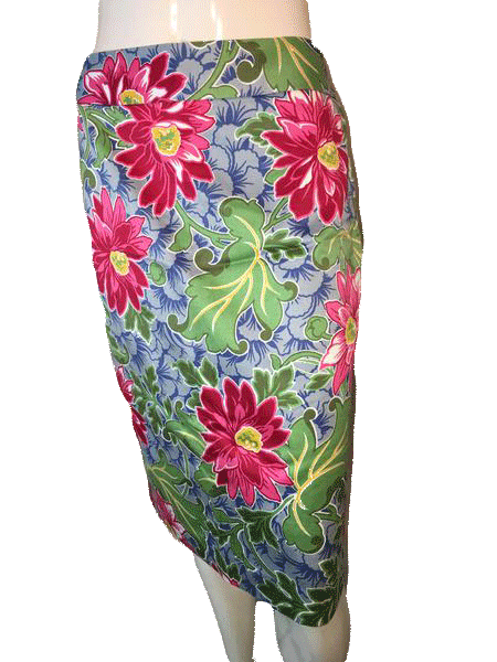 Talbots Knee Length Skirt in Fun Vibrant  Colors 100% Cotton Size 8 (SKU 000094)
