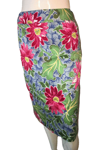Talbots Knee Length Skirt in Fun Vibrant Summer Colors 100% Cotton Size 8 (SKU 000094)