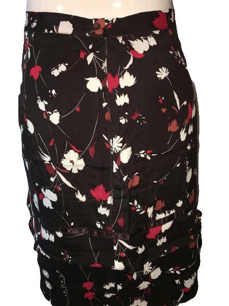 FLORAL SKIRT Anne Klein Black Silk Skirt with Red and White Floral Print Size 12 (SKU 000094)