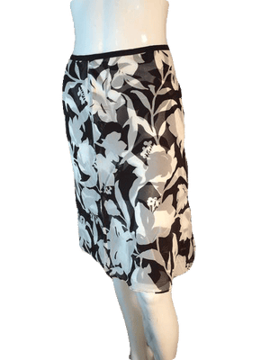 Ann Taylor 100% Silk Brown and Cream Floral Skirt with Sheer Overlay Size 2 SKU000202