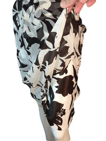 Ann Taylor 100% Silk Brown and Cream Floral Skirt with Sheer Overlay Size 2 (SKU000202)