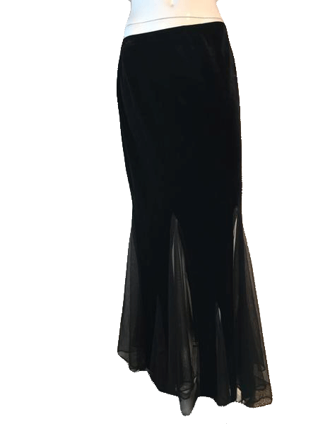 Xscape by Joanna Chen Black Ankle Length Velvet Skirt with Sheer Cutouts Around the Hem Size L SKU 000202