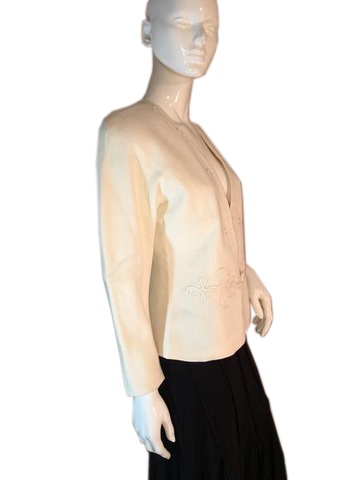 Ellen Tracy 100% Wool Cream Blazer with Beautiful Embroidered Design Size 4 (SKU 000204)