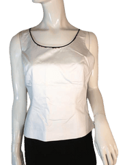 Tahari Arthur S. Levine White Tank Top with Floral Edging Size 6 (SKU 000205)