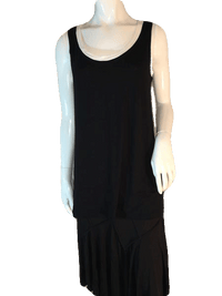 Three Dots Black Tank Top with White Neck and Arm Outline Size M (SKU 000205)