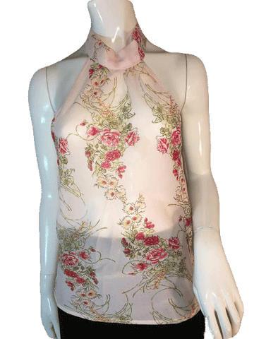 Rubber Ducky Productions, Inc. Sheer Pink Floral Sleeveless Top Size L (SKU 000205)