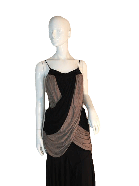 "Designers on a Dime Spaghetti Strap Black and Tan Top with Draping Size 26"" Chest (SKU 000205)"