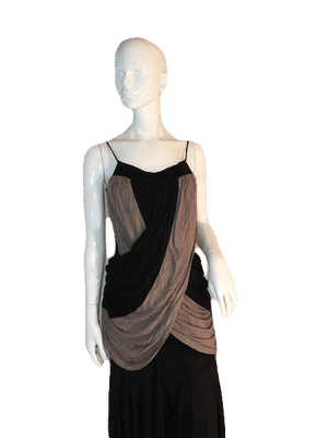"Designers on a Dime Spaghetti Strap Black and Tan Top with Draping Size 26"" Chest SKU 000205"