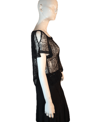"MYTH NYC Sheer and Sequin Black Top with Split Short Sleeves Size 38"" Chest SKU 000205"