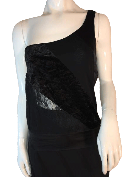 e6762fbf25bc4 Bebe Black One Shoulder Sheer Cut Out Tank Top Size M (SKU 000205 ...