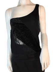 Bebe Black One Shoulder Sheer Cut Out Tank Top Size M (SKU 000205)