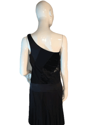Bebe Black One Shoulder Sheer Cut Out Tank Top Size M SKU 000205