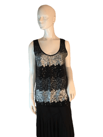 B Jewel Sequin Tank Top in Silver and Black Stripes Size M (SKU 000205)