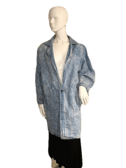 DENIM BLAZER Blue Stoned Wash Denim Long Sleeve Duster Medium (SKU 000151)