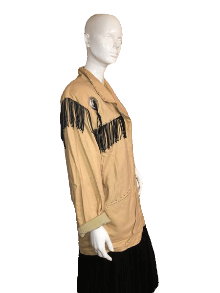 Short Circuit Tan Western Style Fringe Jacket with Conchos Size L SKU000151