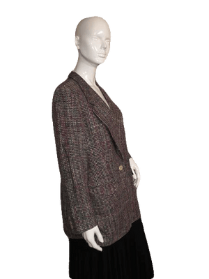 Tailleur Platinum Black and Multi-Color Tweed Blazer Size 12 SKU 000151