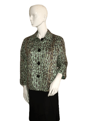 Painted Pony Light Green ¾ Length Leopard Cheetah Print Jacket Size S SKU 000151