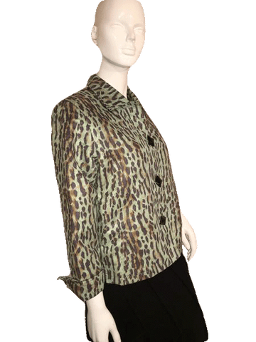 Painted Pony Light Green ¾ Length Leopard Cheetah Print Jacket Size S  (SKU 000151)