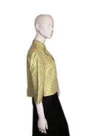 Emanuel Ungaro Green and White Checked Double Breasted 100% Silk Blazer Size 4 SKU 000207