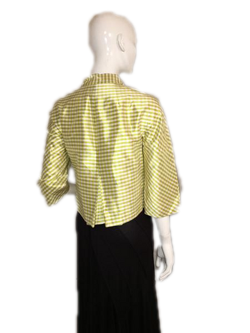 Emanuel Ungaro Green and White Checked Double Breasted 100% Silk Blazer Size 4 (SKU 000207)