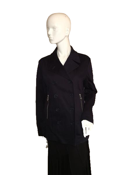 Michael Kors Double Breasted Black Jacket with Zipper Pockets Size L (SKU 000207)