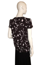Michael Kors  Black and White Floral Short Sleeve Shirt Size L (SKU 000207)