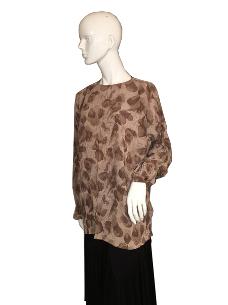 Armani Brown Long Sleeve Sheer Top Size 10 SKU 000207